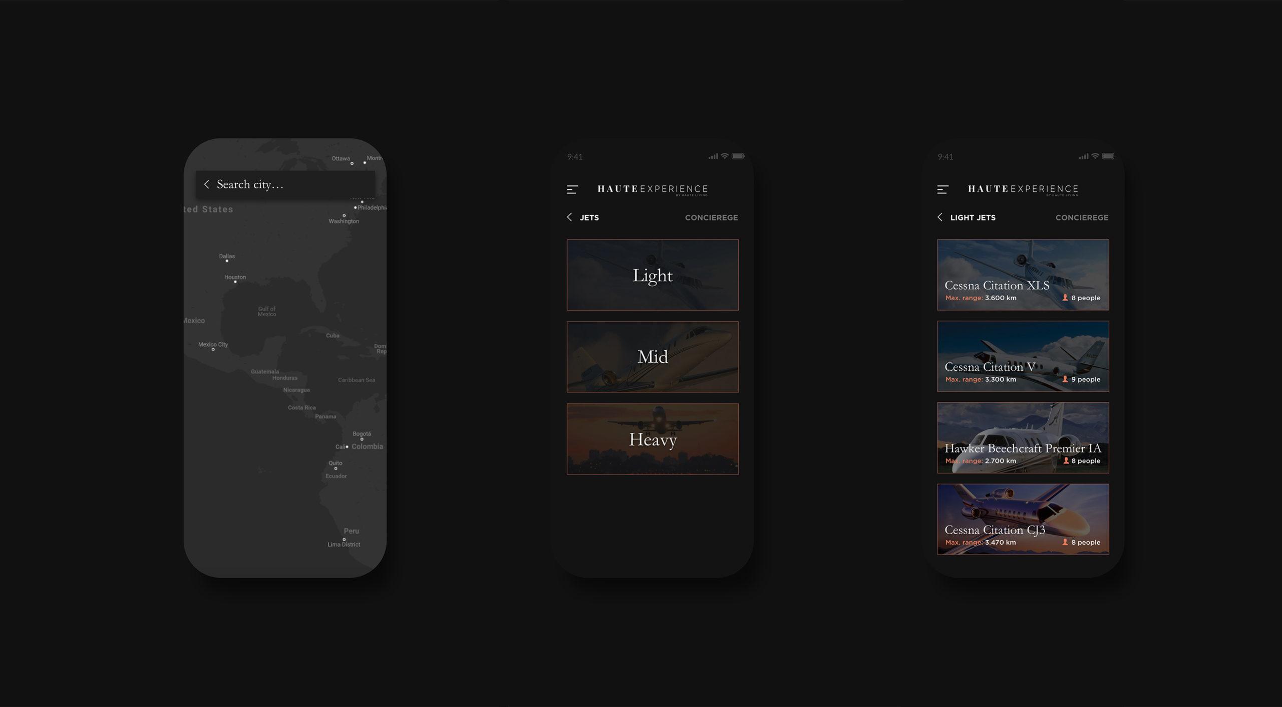 Haute Experience iOS app page designs